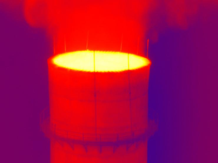 Снимки, полученные при высотном обследовании дымовой трубы