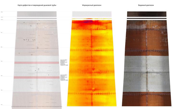 Фрагмент развертки 3D-модели дымовой трубы в видимом и инфракрасном диапазонах